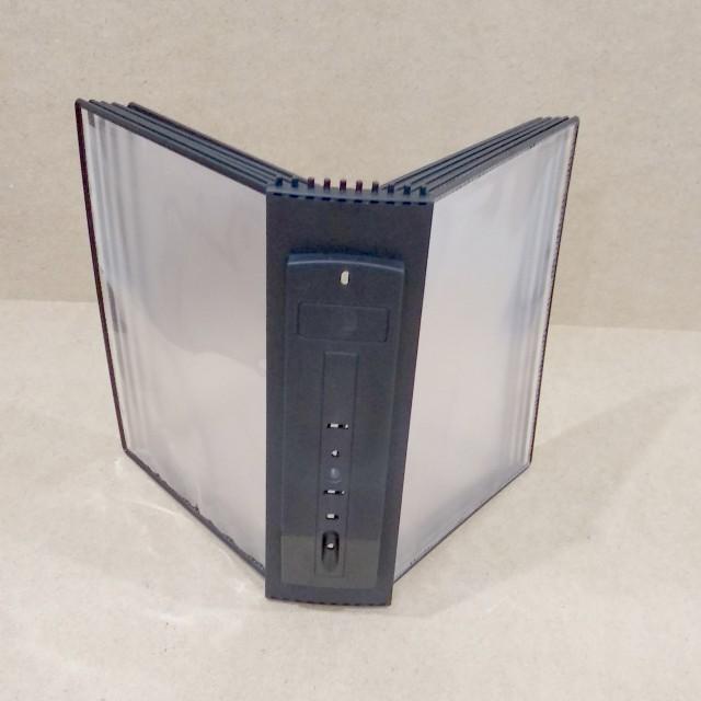 Настенная перекидная система А4; 10 карманов, держат. литой ABS пластик черный