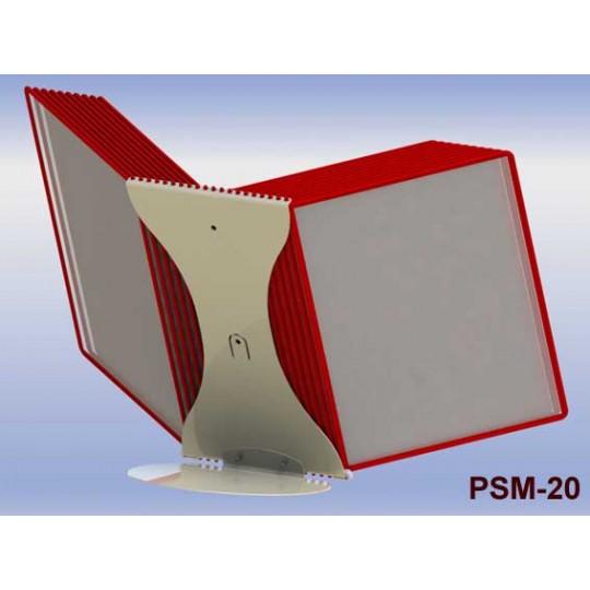Настольная перекидная система А4 с 20-ю карманами, металлическое основание и металлический корпус 2 мм